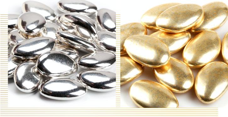 confetti argento e oro, pregi e confetti