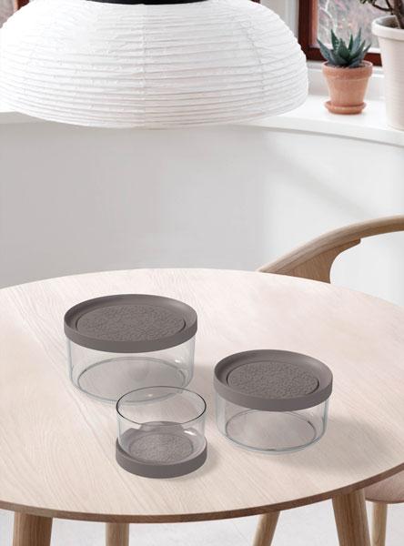 eco-plast contenitore in vetro pi tondo tortora