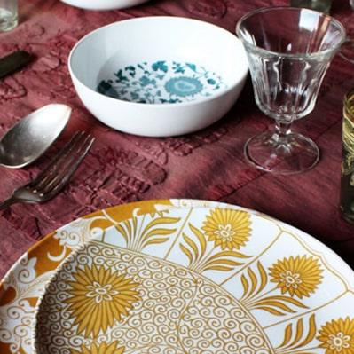 articoli per la tavola in melamina decoro damasco, cartaffini