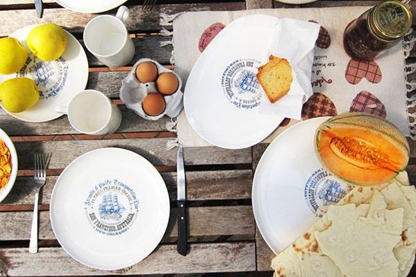 articoli per la tavola in melamina decoro veliero, cartaffini